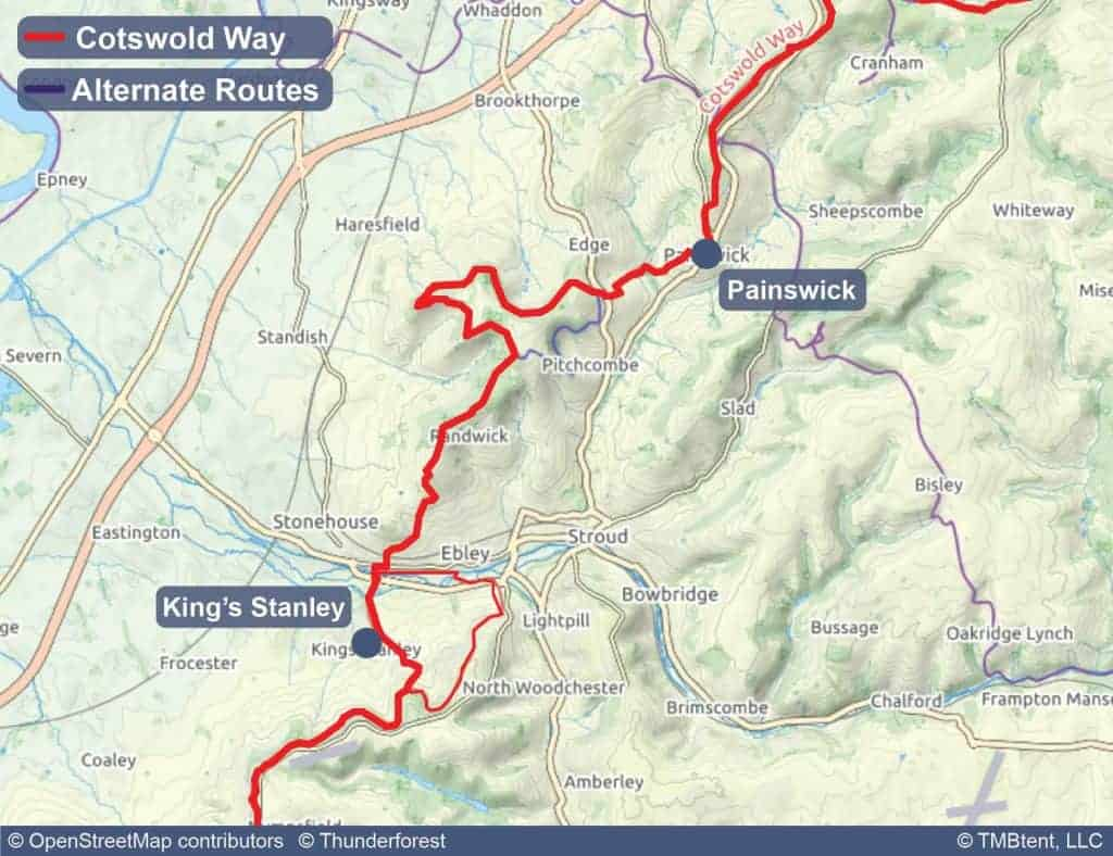 Map of stage 5 of the Cotswold Way - Painswick to King's Stanley