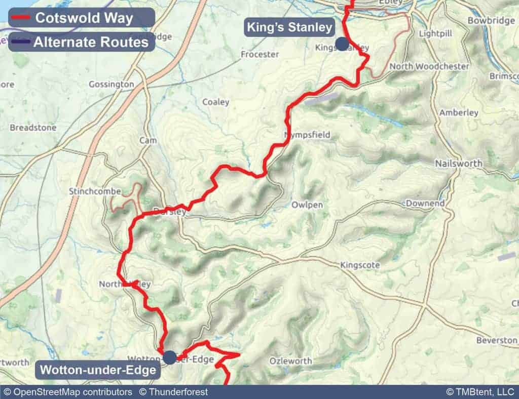 Map of stage 6 of the Cotswold Way - King's Stanley to Wotton-under-Edge