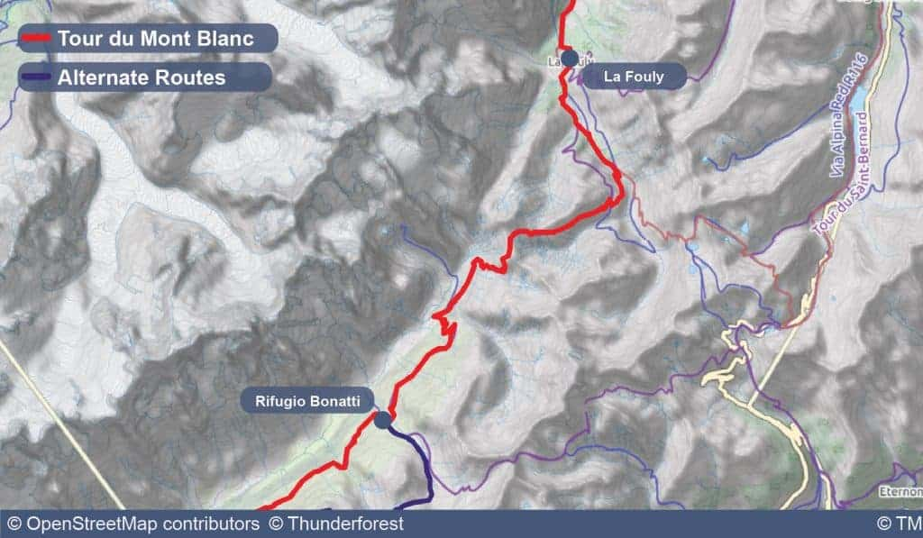 Map of Stage 6 of the Tour du Mont Blanc