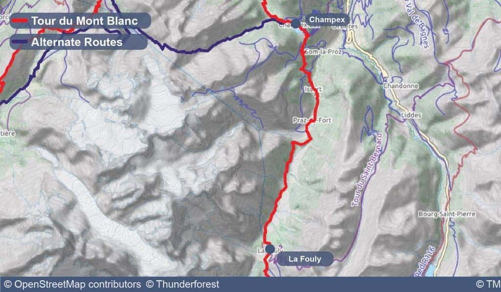 Map of Stage 7 of the Tour du Mont Blanc