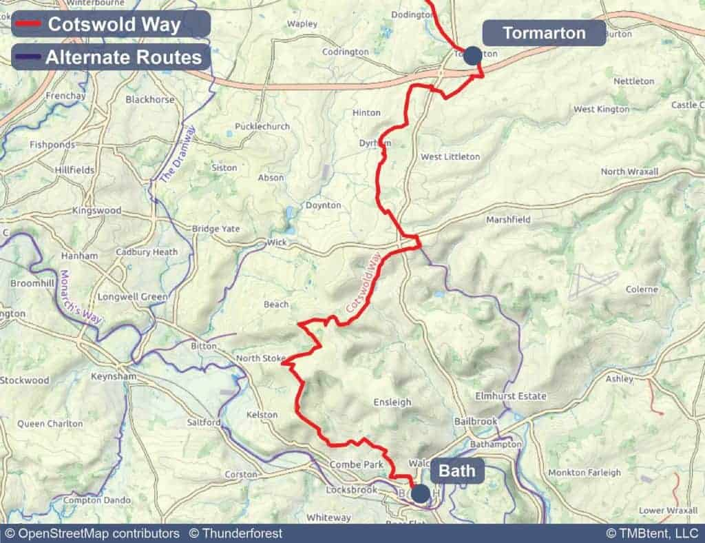 Map of stage 8 of the Cotswold Way - Tormarton to Bath