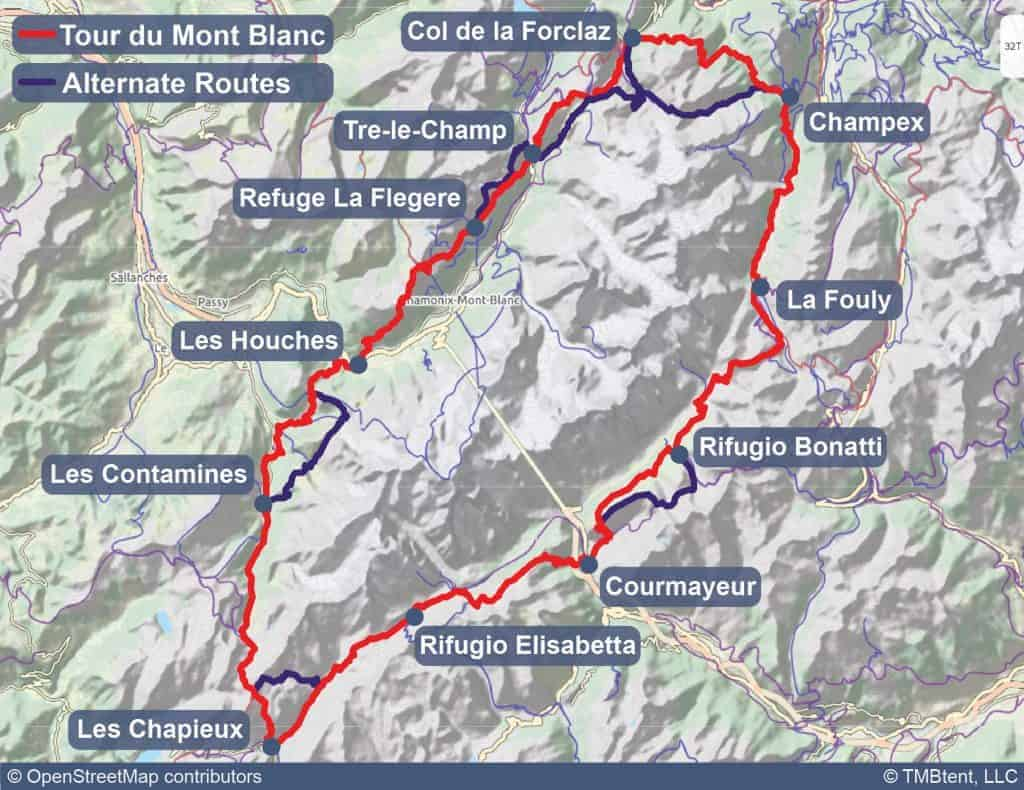 Map of the Tour du Mont Blanc