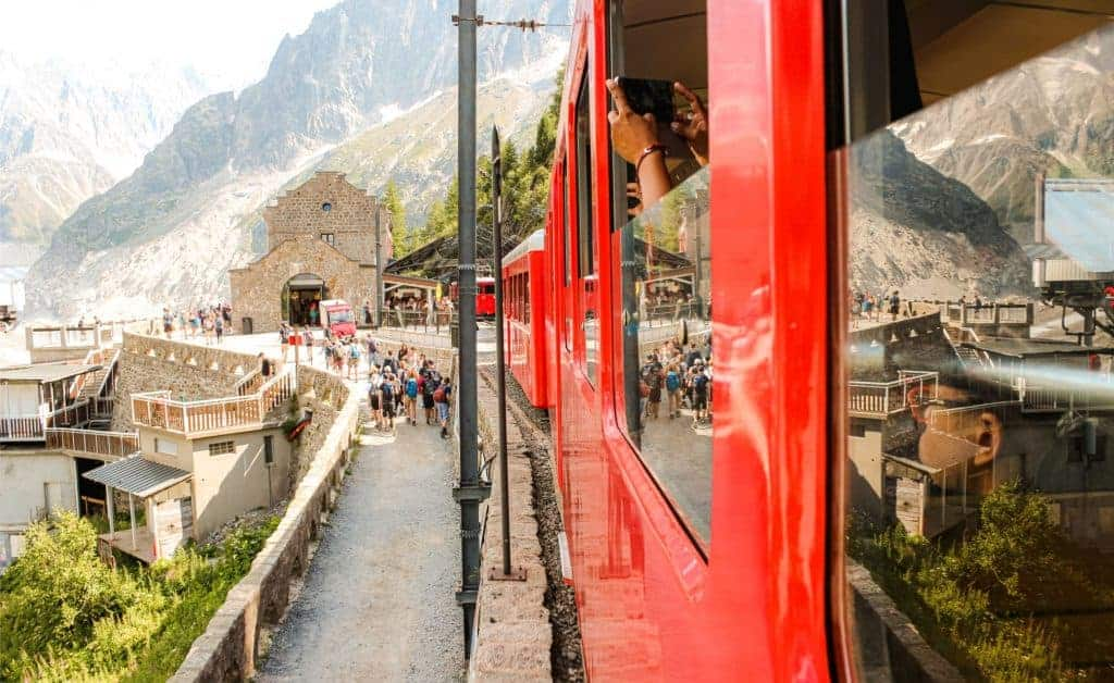 A train arrives at the main station in Chamonix, France.