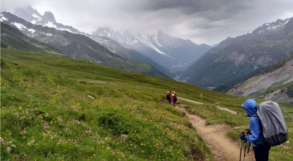 Trail leading down from the Col de Balme