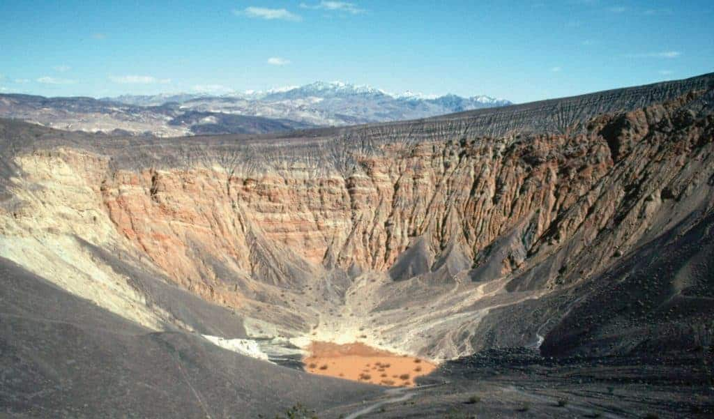 The ubehebe crater in Death Valley.