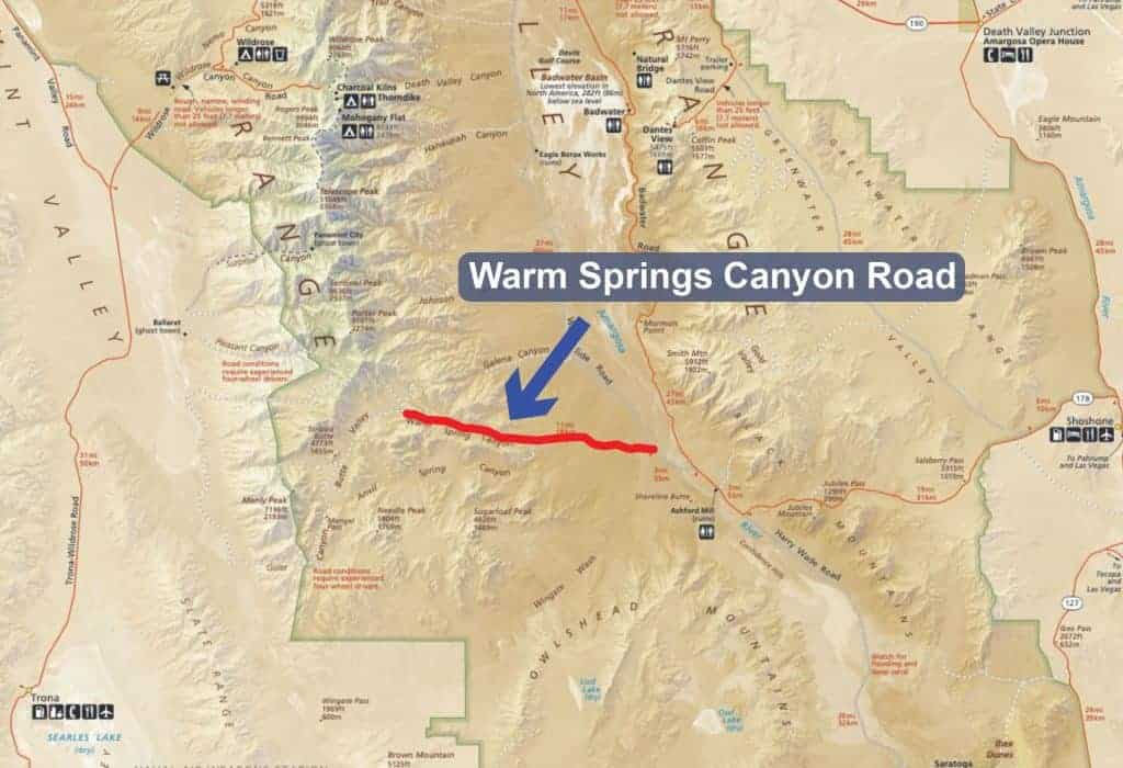 Map of Warm Springs Canyon Road - Death Valley