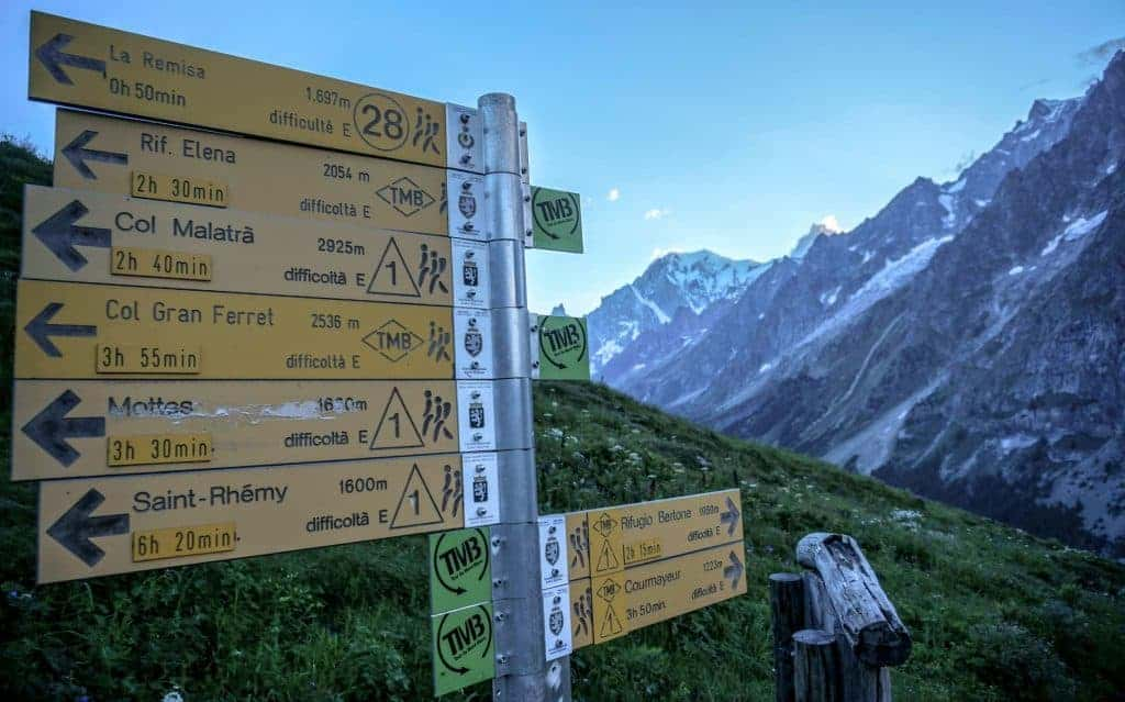 Trail signs on the Tour du Mont Blanc