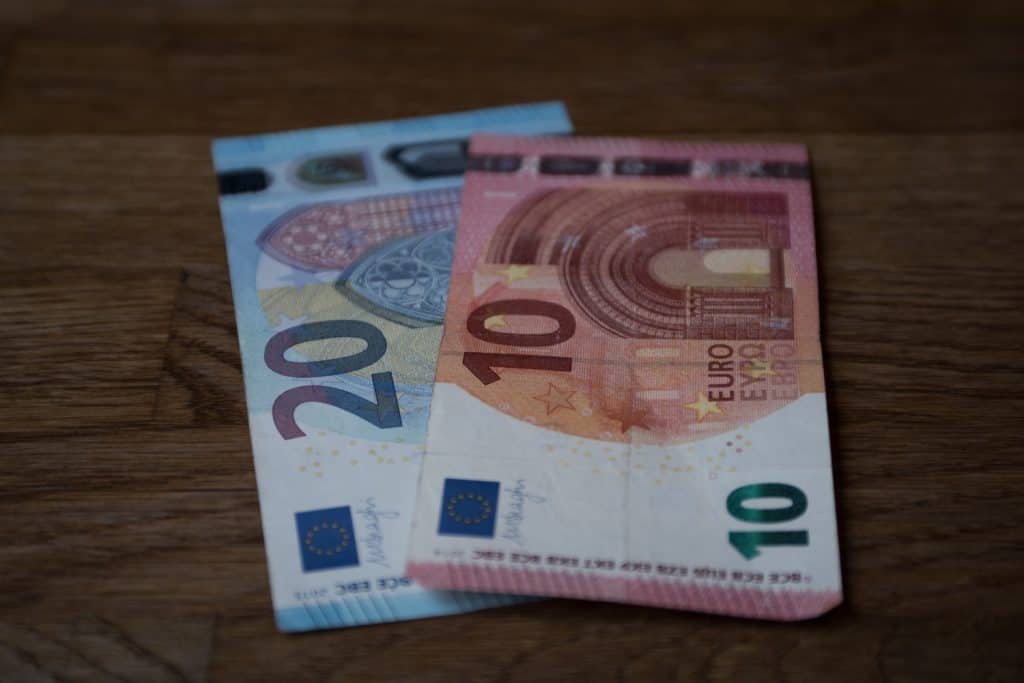 Euros on a table.