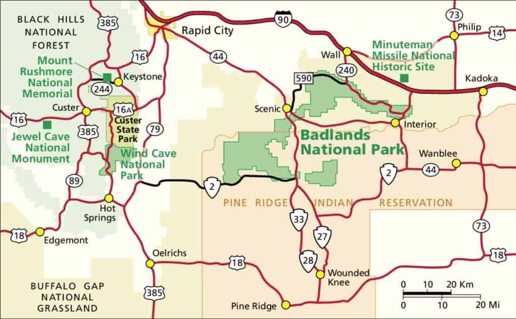 Map of the area surrounding Badlands National Park