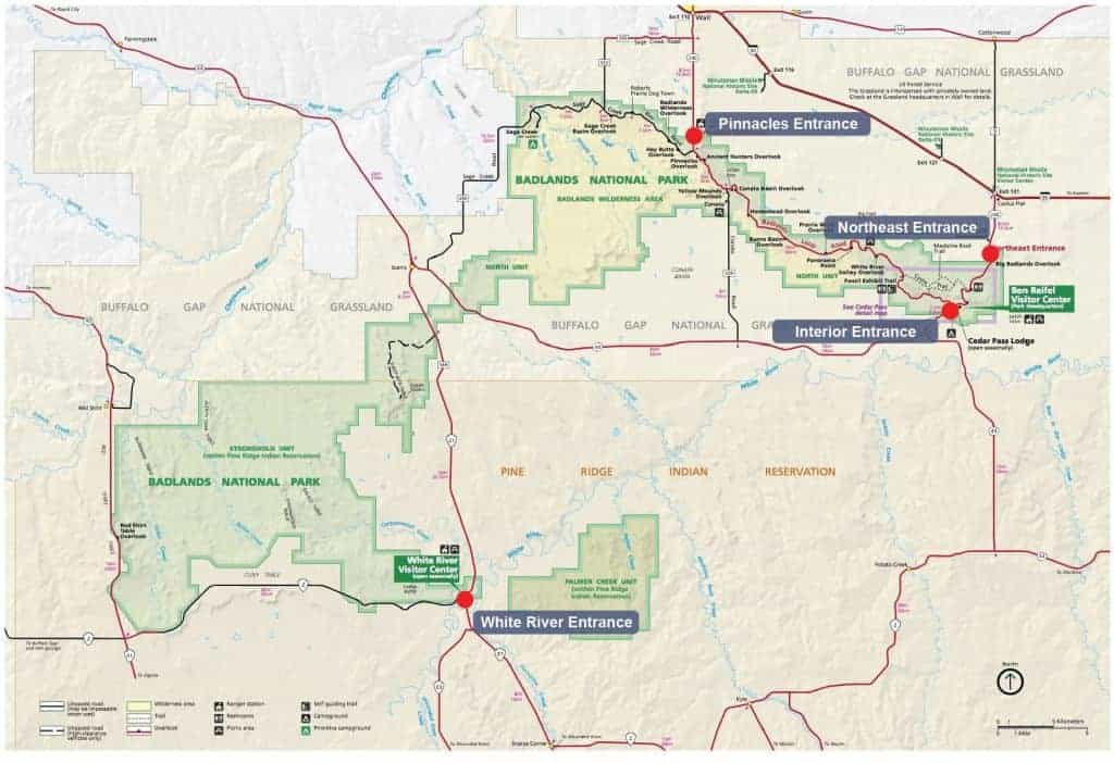 Map of entrance stations to Badlands National Park.