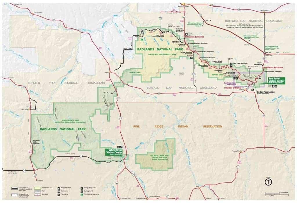 Badlands National Park map