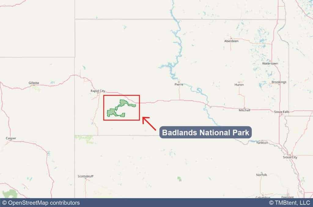 Map showing the location of Badlands National Park