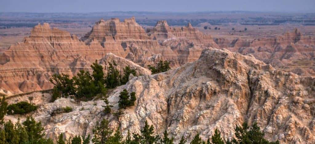 View of sandstone rocks in the Badlands