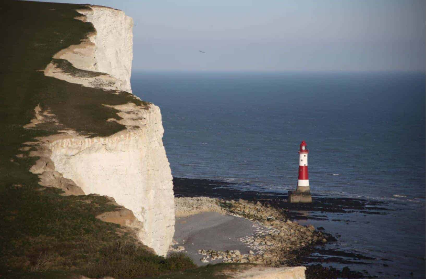 Red and white Beachy Head Lighthouse, South Downs Way