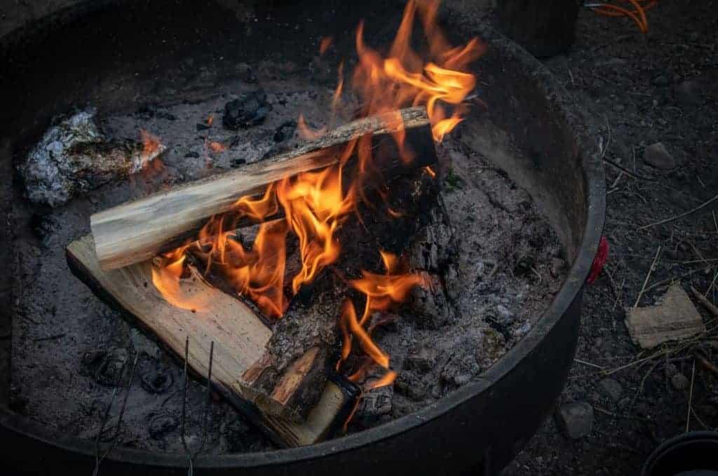 Campfire in a grate.