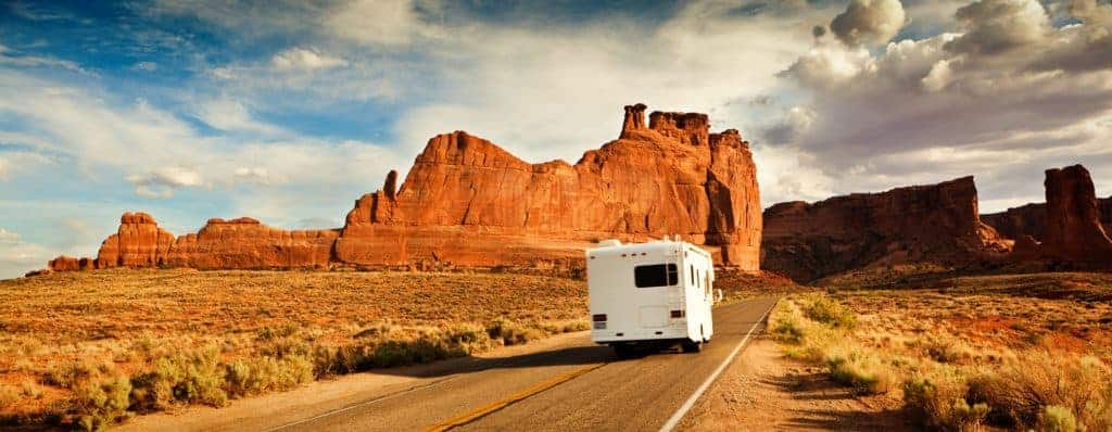 RV driving towards Capitol Reef National Park