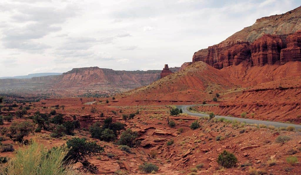 Red sandstone cliffs in Capitol Reef