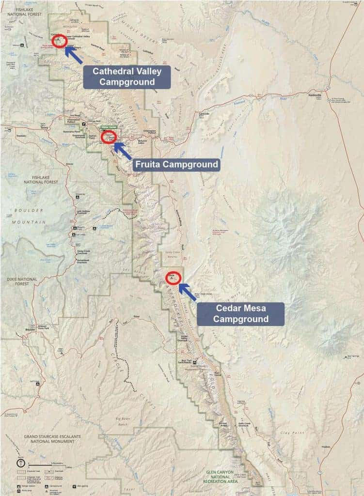 Map of campgrounds in Capitol Reef National Park
