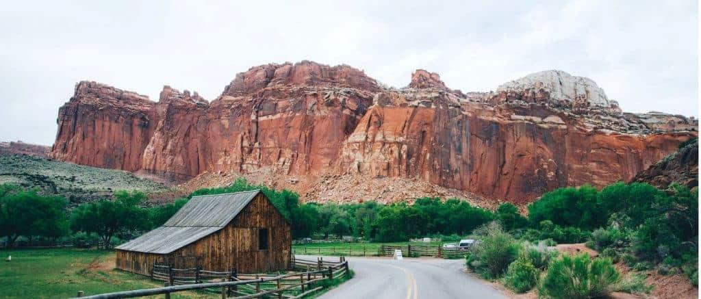 Road and barn in Capitol Reef National Park, Utah