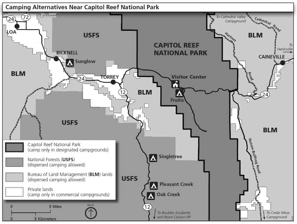 Map of dispersed camping areas near Capitol Reef National Park