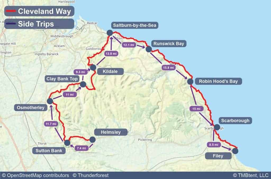 Map of the Cleveland Way with stage distances in miles.