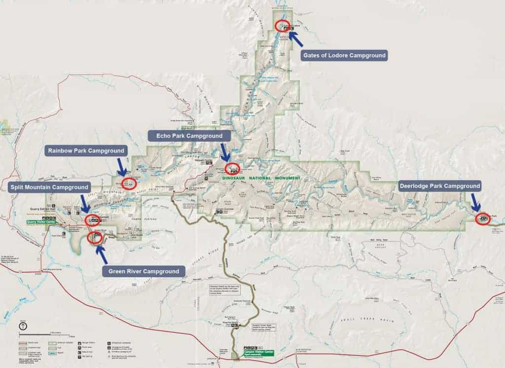 Map of campgrounds in Dinosaur National Monument