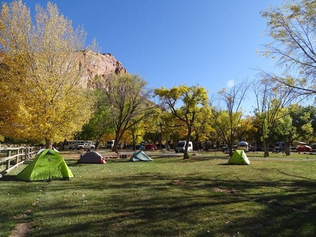 Tents in the Fruita Campground