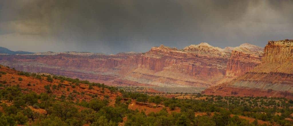 Storm clouds over Capitol Reef National Park