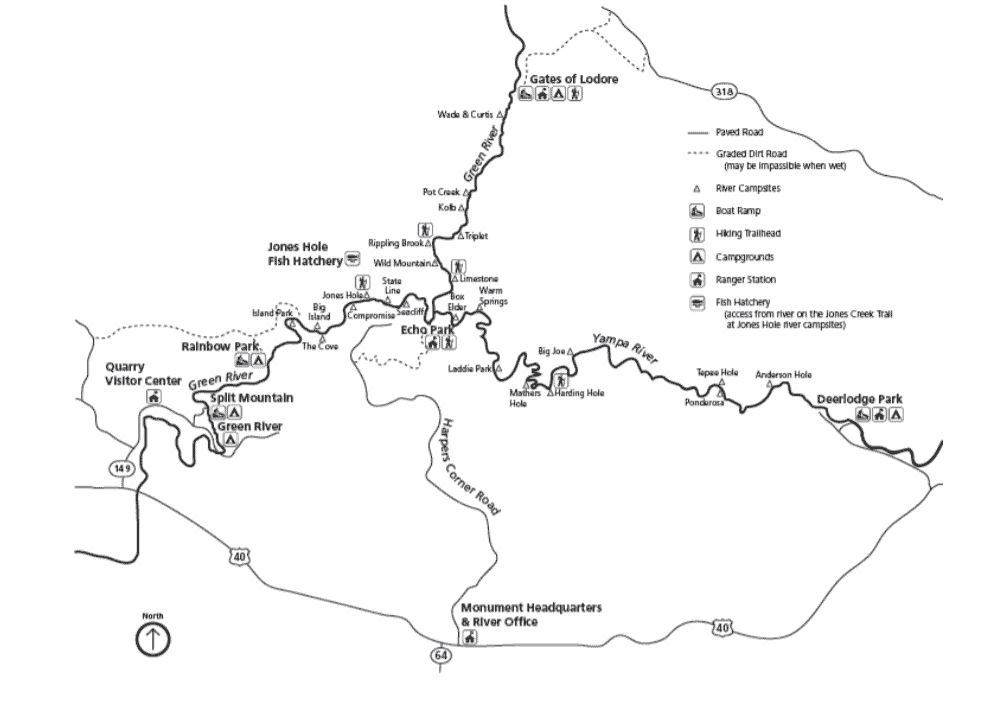 Backcountry River Sites Map, Dinosaur National Monument