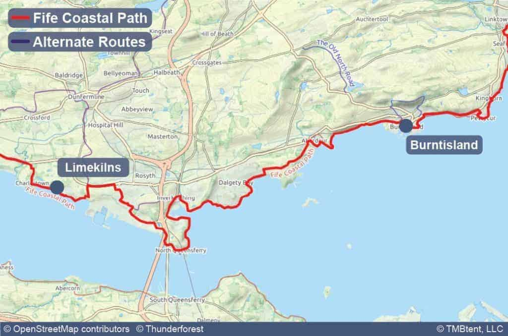 Map of Stage 2 of the Fife Coastal Path from Limekilns to Burntisland