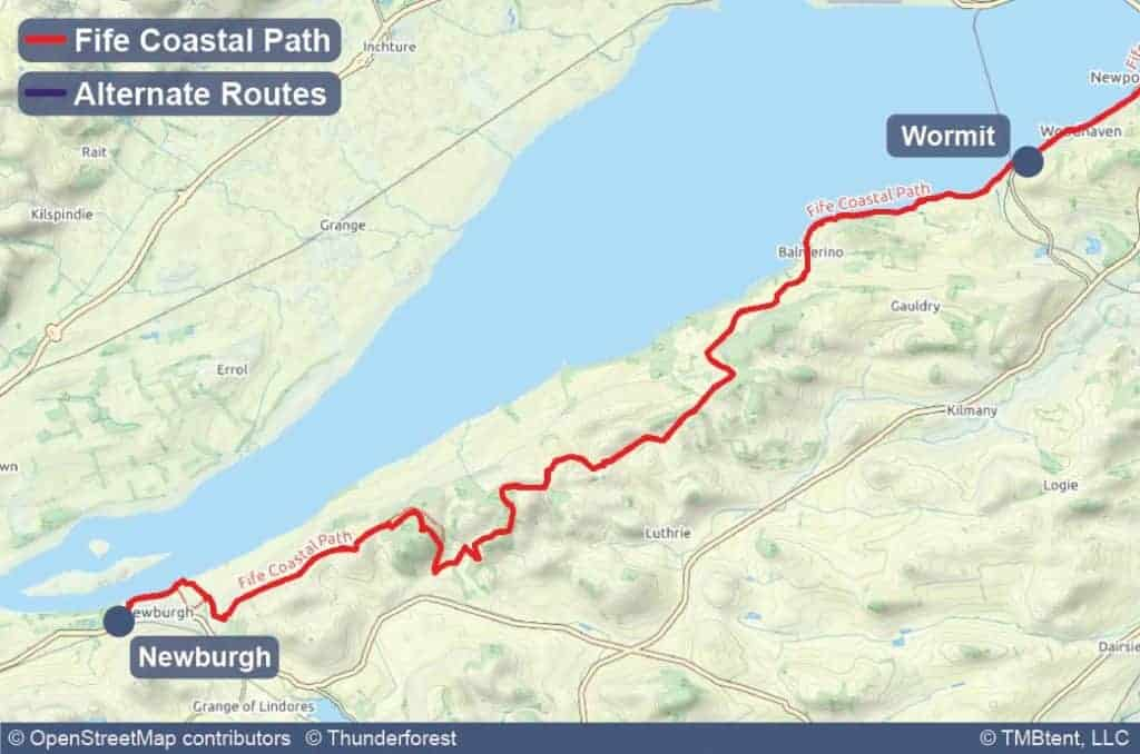 Map of Stage 8 of the Fife Coastal Path from Wormit to Newburgh
