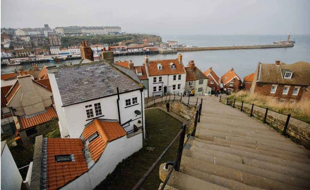 White cottages in Whitby, England.