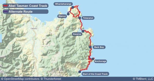 Map of the Abel Tasman Coast Track.