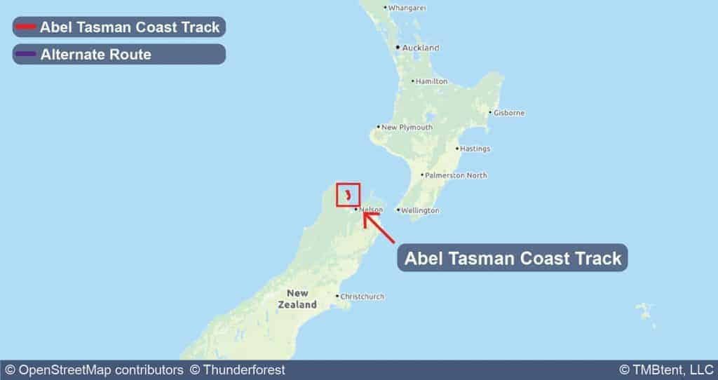 Overview map of the Abel Tasman Coast Track