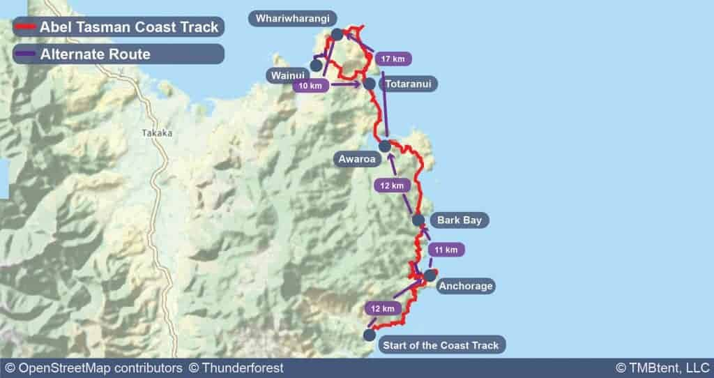 Map of the Abel Tasman Coast Track with stage distances
