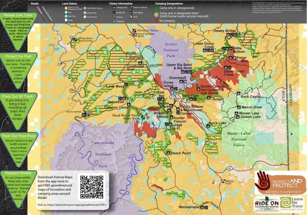 Map of BLM campgrounds near Canyonlands National Park
