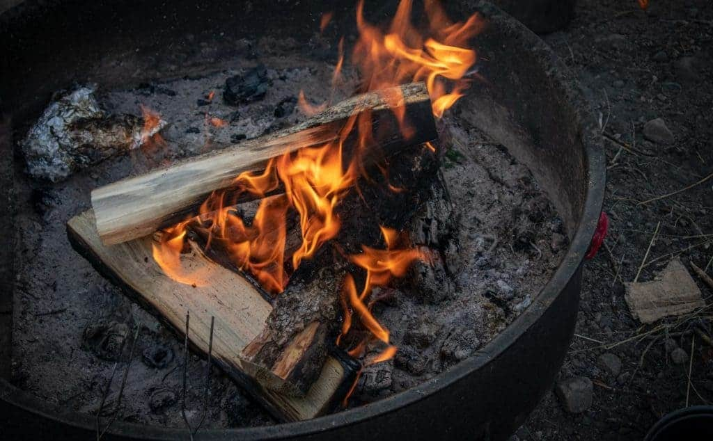 Campfire in grate.