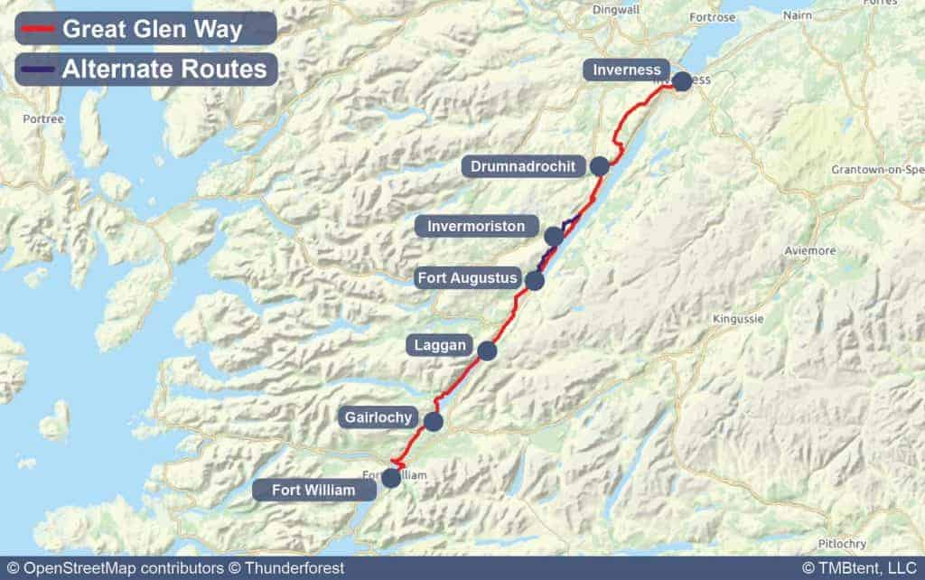 Map of the Great Glen Way