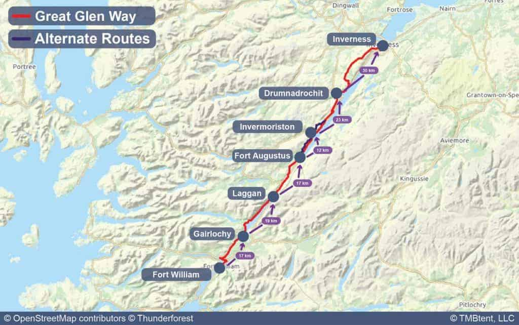 Map of the Great Glen Way with stage distances