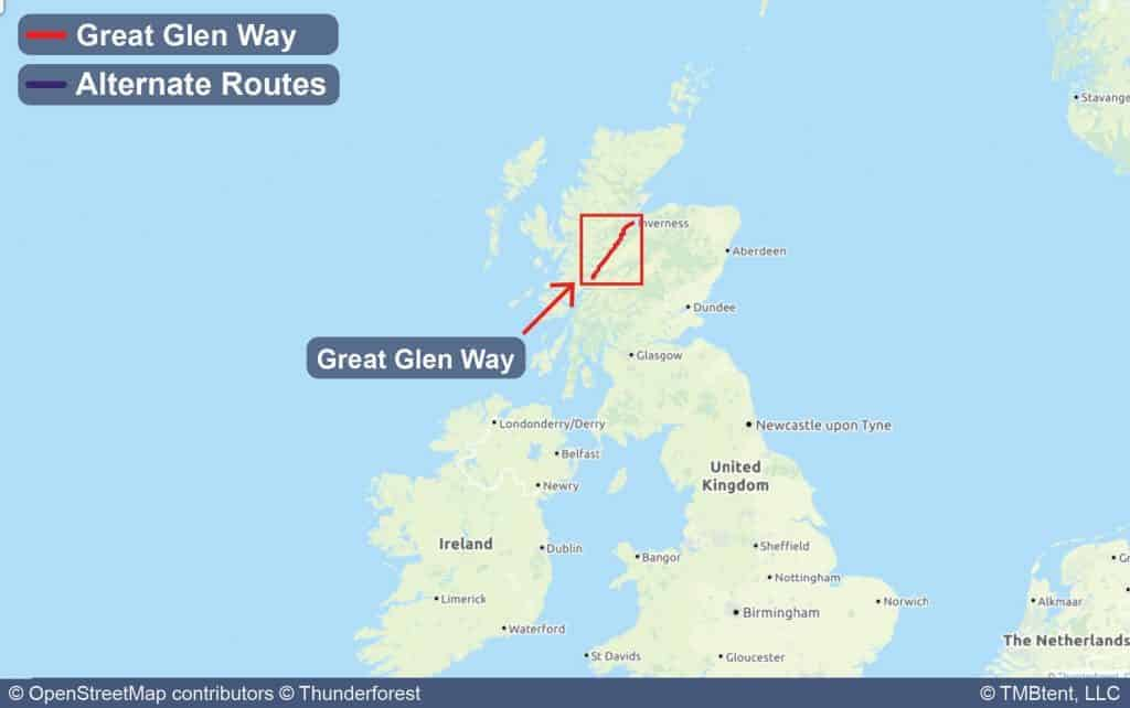 Map showing the location of the Great Glen Way