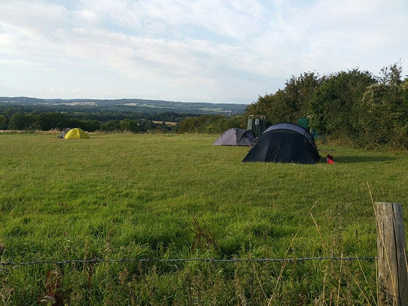 Tents at Manor Farm Camping on the South Downs Way