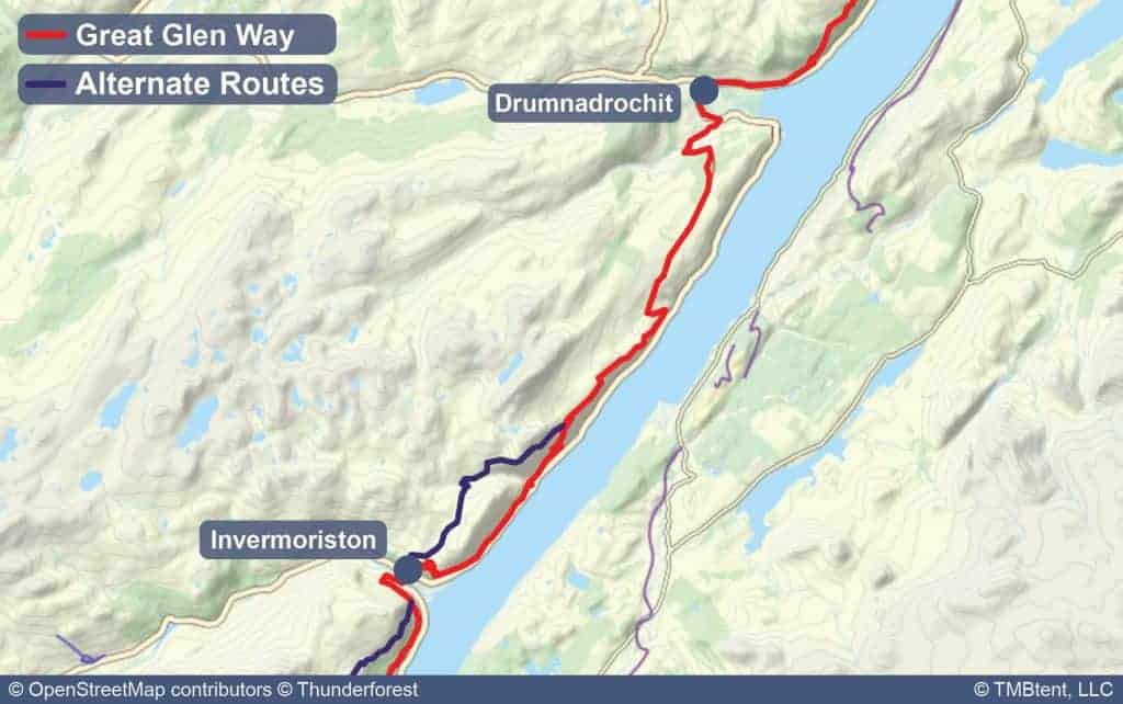 Map of Stage 5 of the Great Glen Way