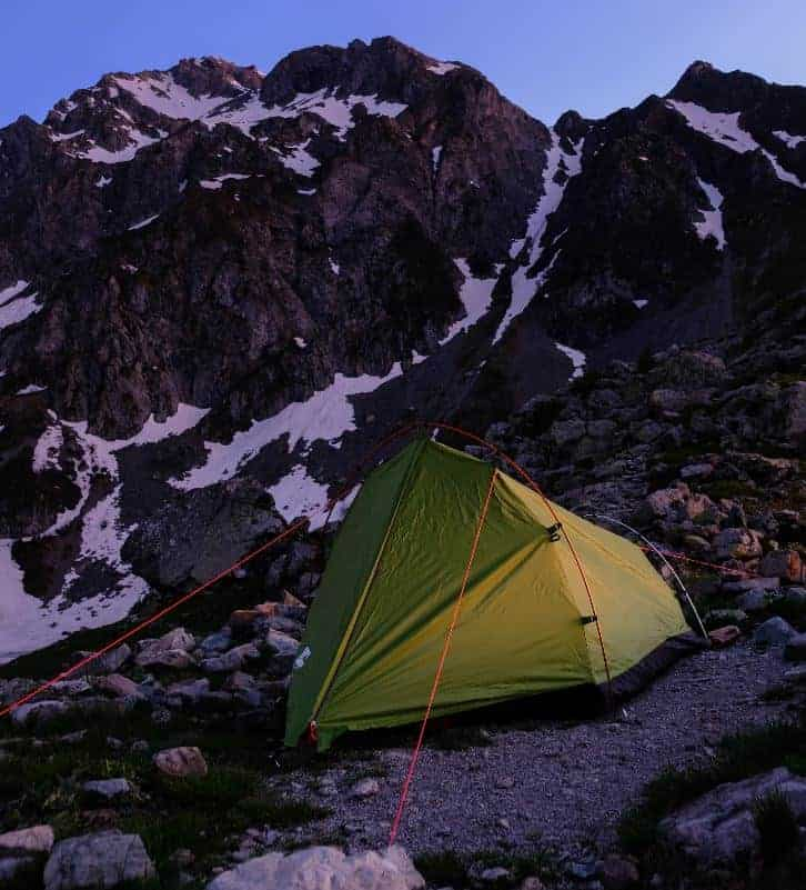 A tent in Rocky Mountain National Park.
