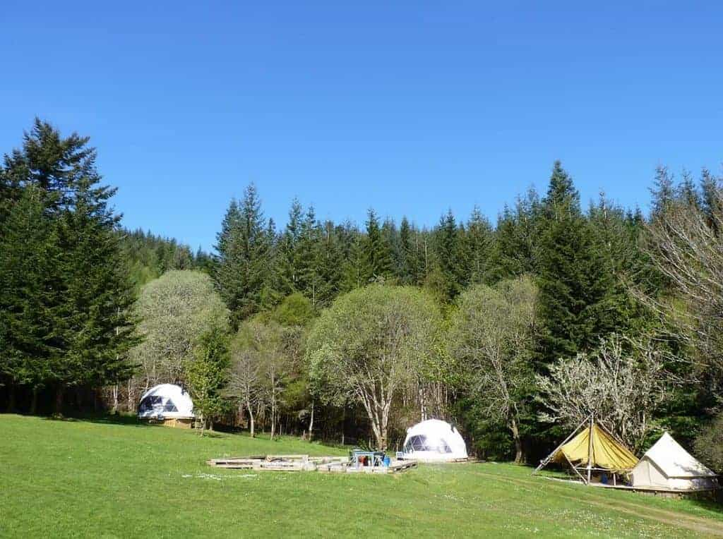 Tents at the Inver Coille Campground on the Great Glen Way