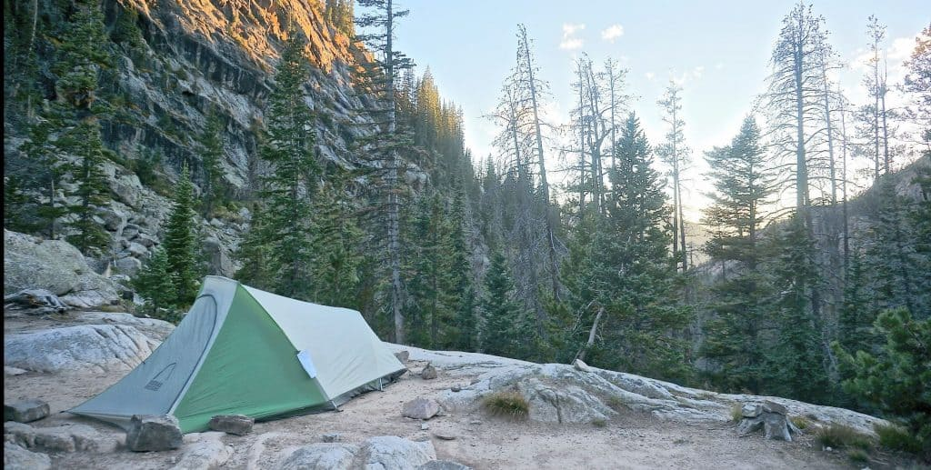 Tent at a backcountry campsite in Rocky Mountain National Park.