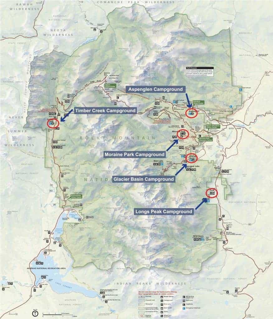 Map of camping in Rocky Mountain National Park