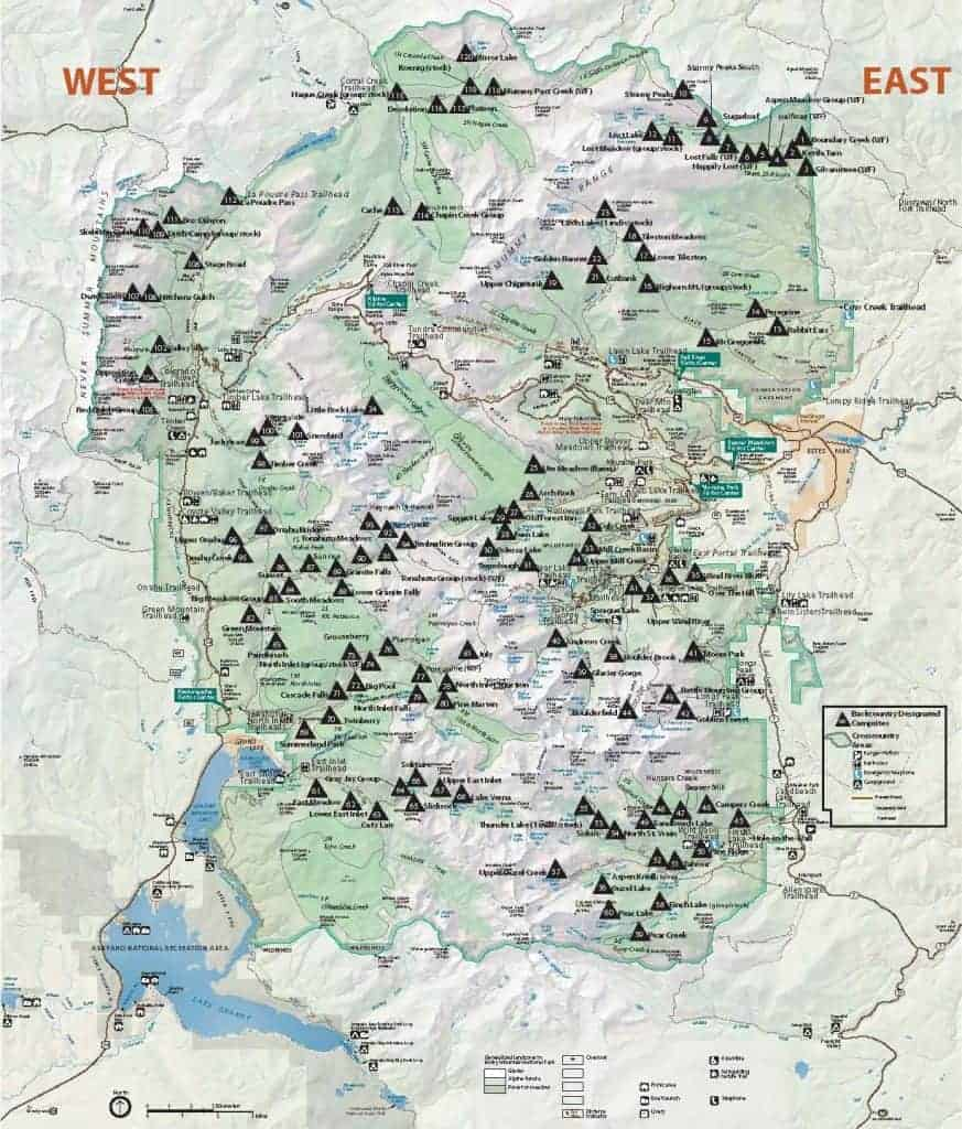 Map of backcountry campsites in Rocky Mountain National Park.