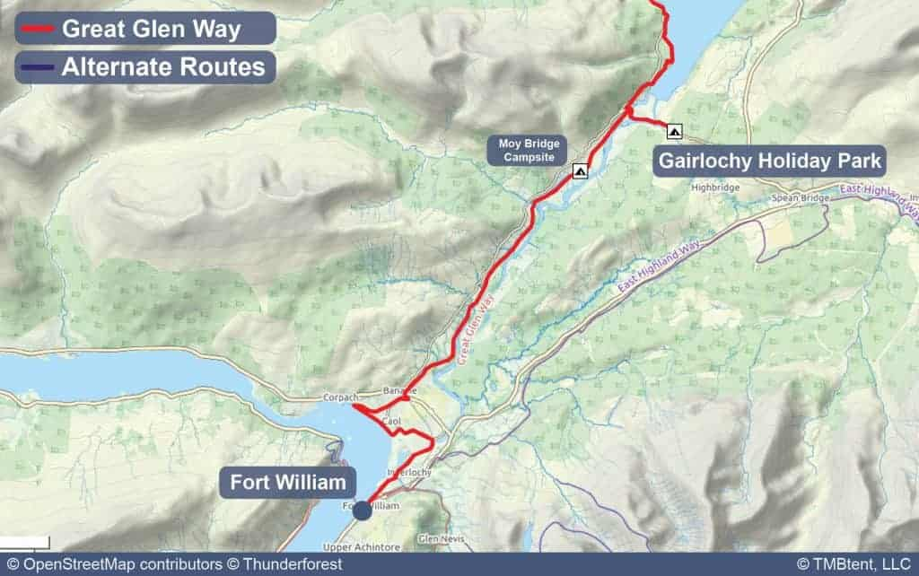 Map of Stage 1 from Fort William to Gairlochy Holiday Park
