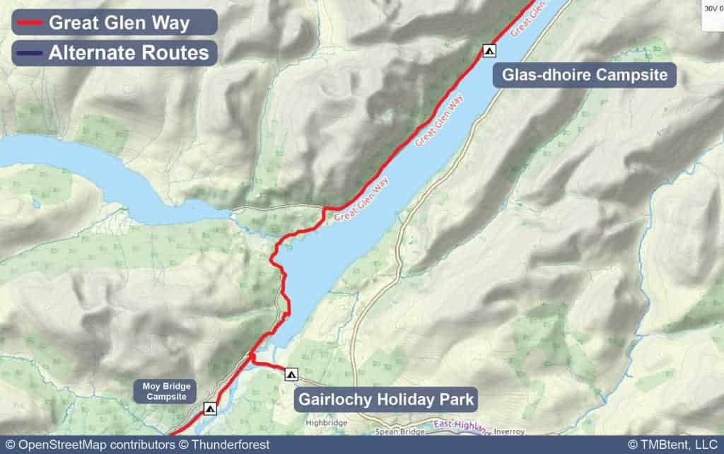 Map of Stage 2 Gairlochy Holiday Park to Glas-dhoire