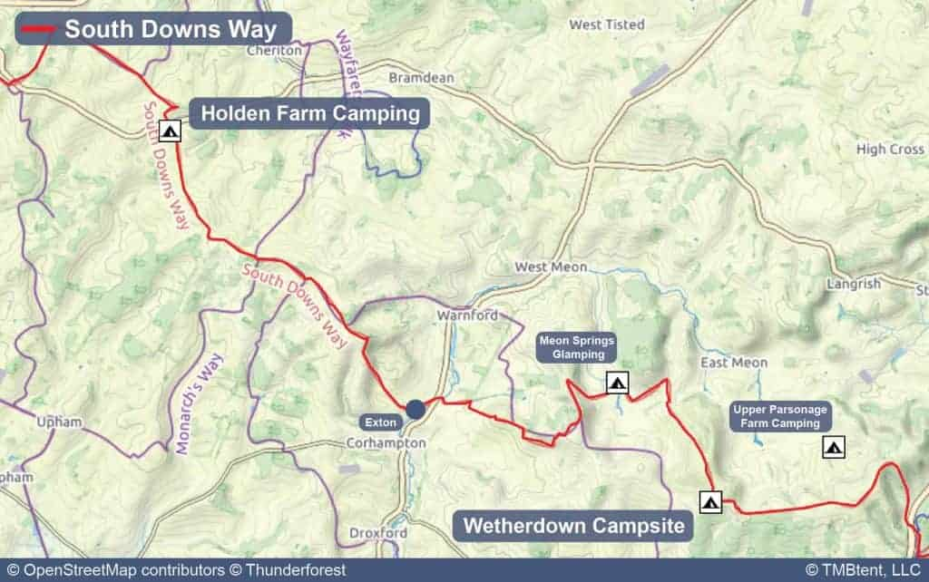 Map of Stage 2 from Holden Farm Camping to Wetherdown Lodge and Campsite